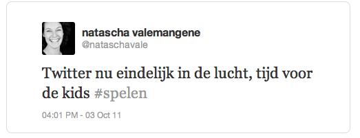 Natascha eerste tweet