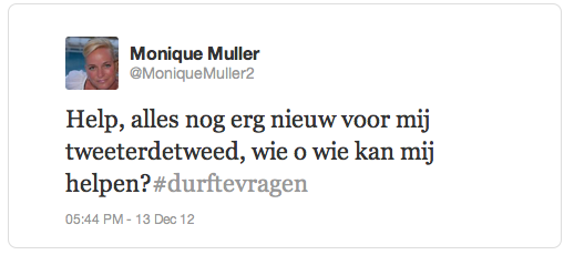 Monique eerste tweet